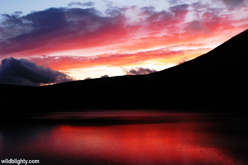Sunset over Grisedale Tarn in the Lake District