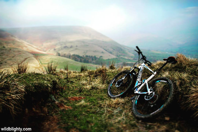 Mountain Biking on the Chapel Gate Path in the Edale Valley area of the Peak District.