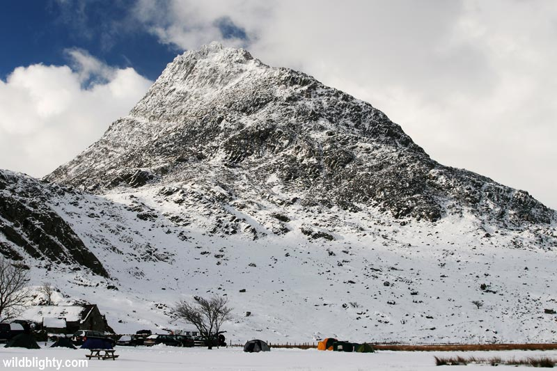 View of a snow covered Tryfan