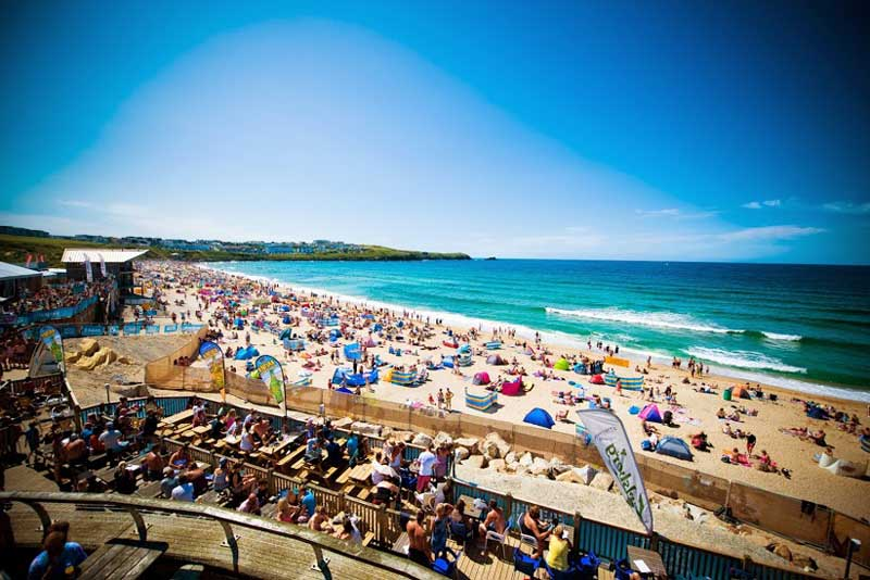 The Boardmasters Pro Surf Competition at Fistral Beach, Newquay.