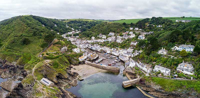 View of the fishing port of Polperro in Cornwall