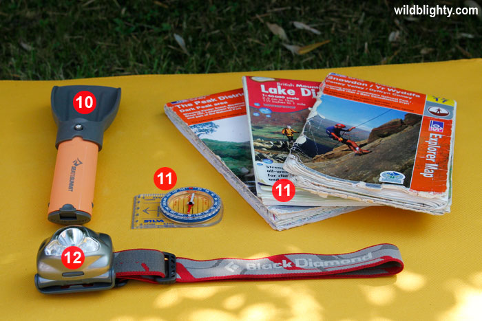 Wild Camping Kit List Essentials - Mini Shovel, Map, Compass & Head Torch