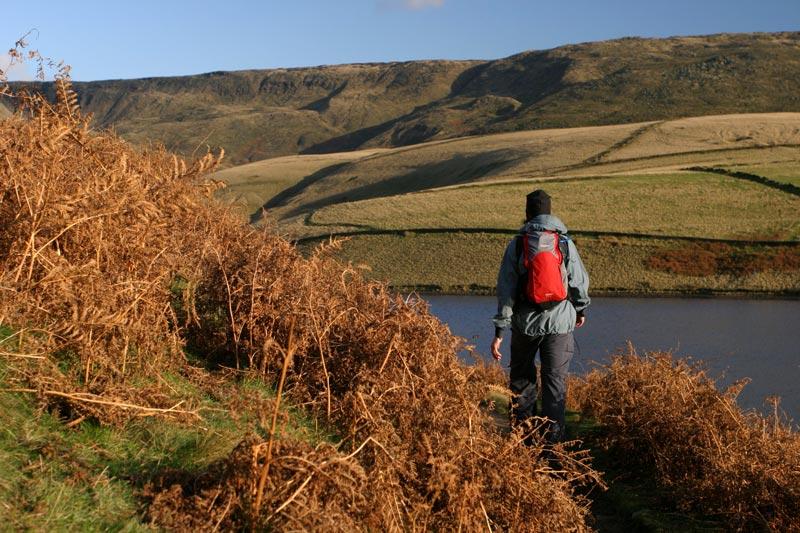 Walking along Snake Path close to Kinder Reservoir.