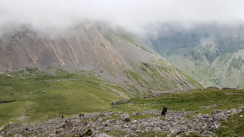 Descending Kirkfell with Great Gable looming ahead