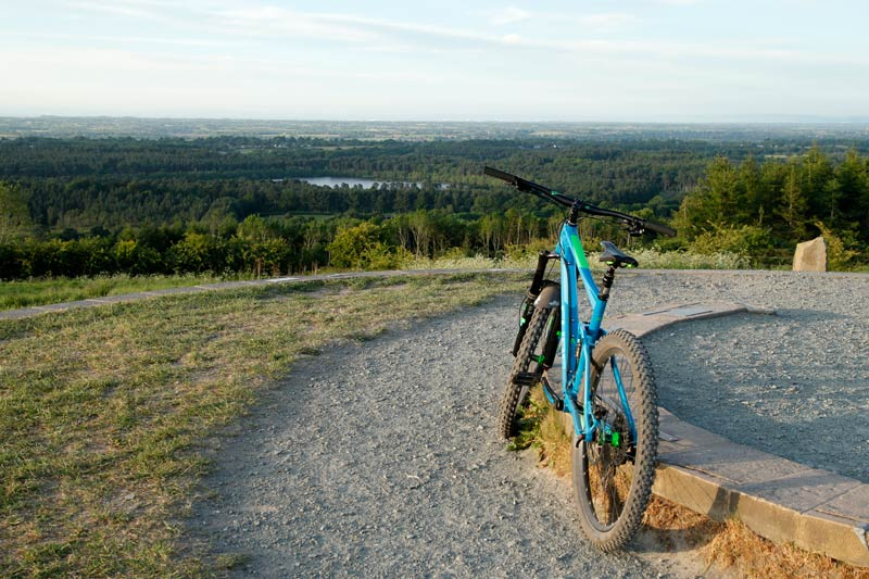 Mountain Bike at the top of Old Pale Hill overlooking Delamere Forest