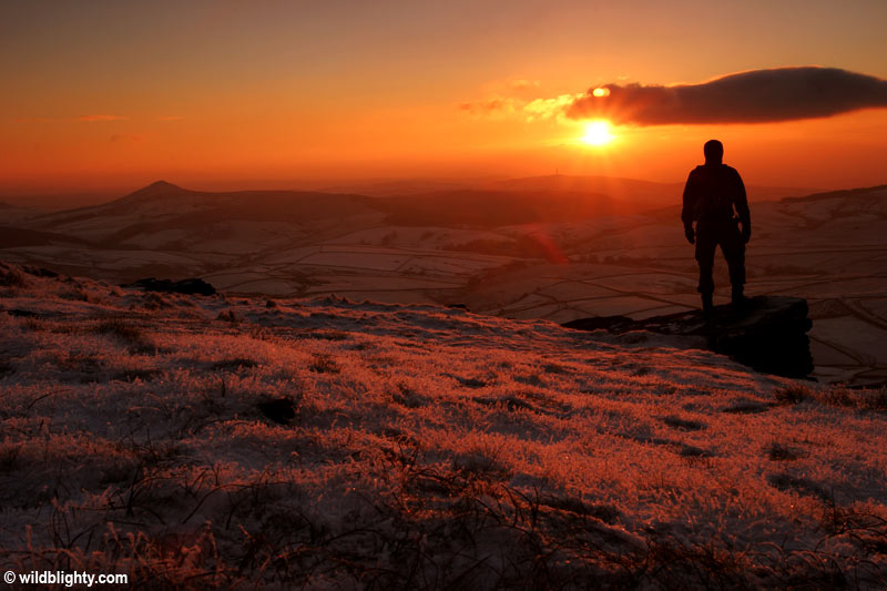 A winter sunset view from Shining Tor