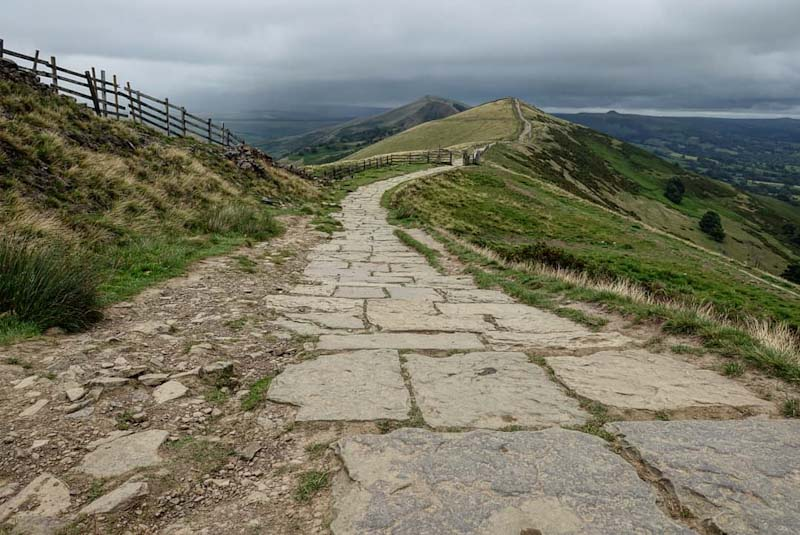 View of path from Mam Tor towards Lose Hill