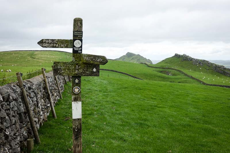 Sign and fields looking towards Chrome Hill